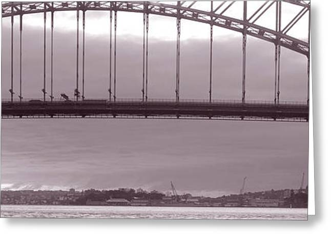 Curvilinear Greeting Cards - Harbor Bridge, Pacific Ocean, Sydney Greeting Card by Panoramic Images