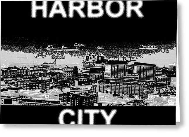 San Francisco Bay Mixed Media Greeting Cards - Harbor City Greeting Card by Pharris Art