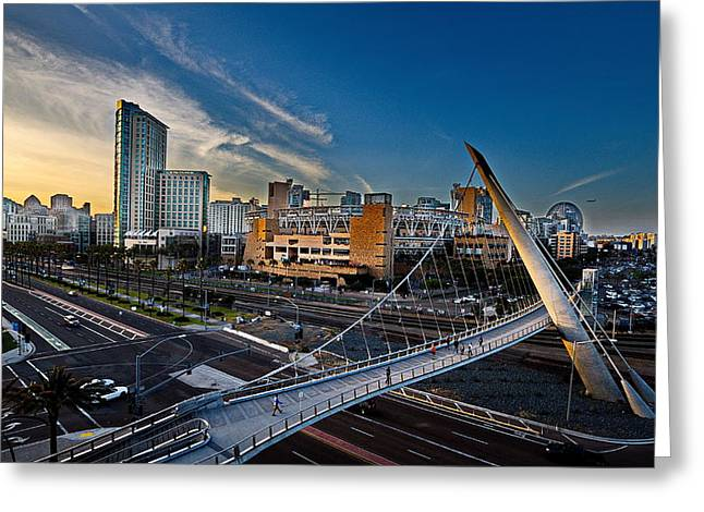 Petco Park Photographs Greeting Cards - Harbor Drive Pedestrian Bridge Greeting Card by Russ Harris
