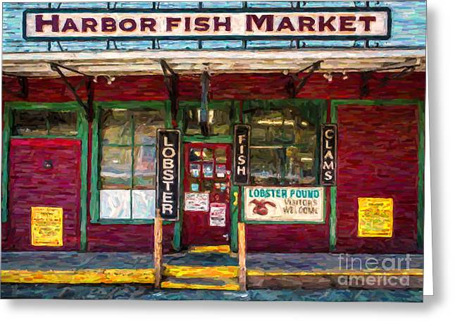 Fish Market Greeting Cards - Harbor Fish Market Greeting Card by Diane Diederich
