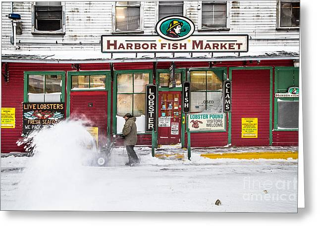 Maine Waterfront Greeting Cards - Harbor Fish Market in Winter Greeting Card by Benjamin Williamson