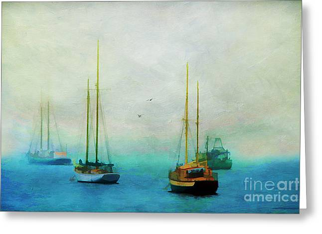 New England Village Greeting Cards - Harbor Fog Greeting Card by Darren Fisher