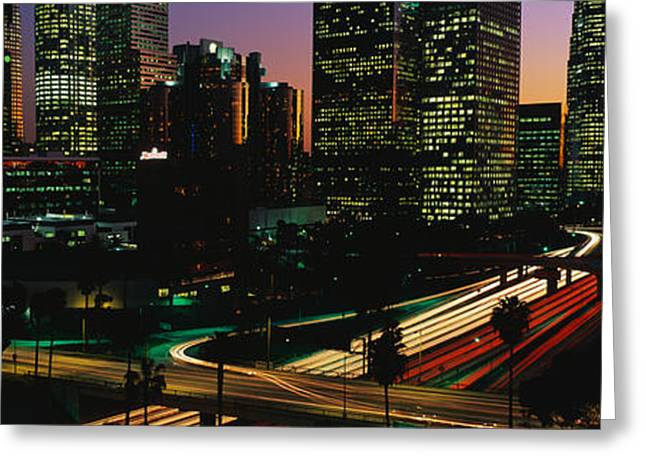 Roadway Greeting Cards - Harbor Freeway Los Angeles Ca Greeting Card by Panoramic Images