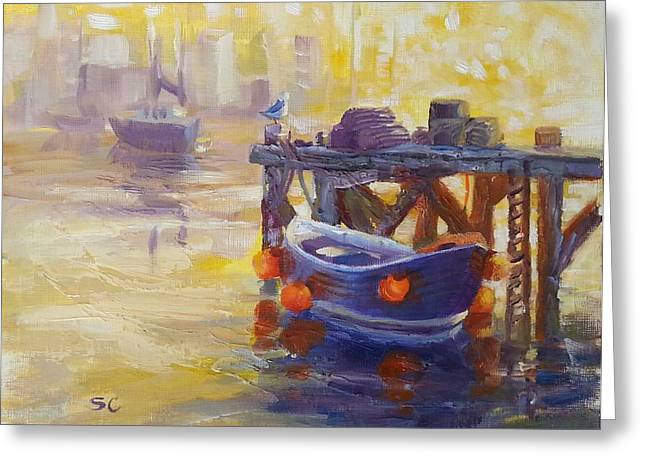 Boats At Dock Greeting Cards - Harbor Glow Greeting Card by Sharon Casavant