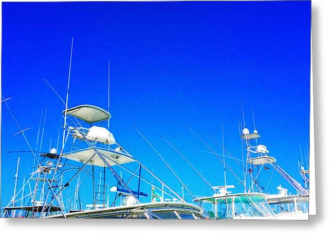 Harbour Wall Greeting Cards - Harbor Happy Hour - Boat Art By Sharon Cummings Greeting Card by Sharon Cummings