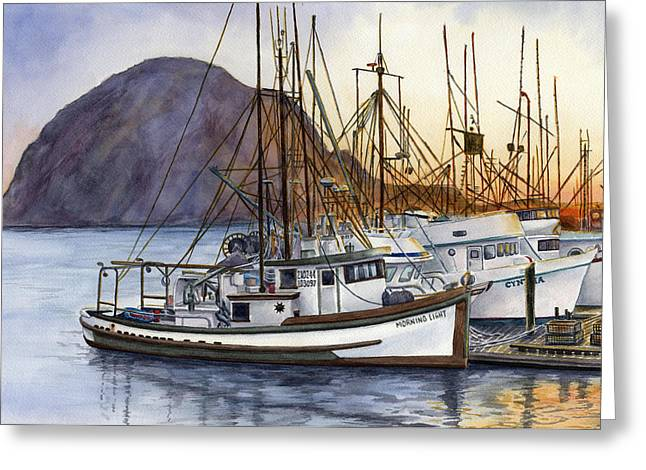 Morro Bay Greeting Cards - Harbor Home Greeting Card by Karen Wright