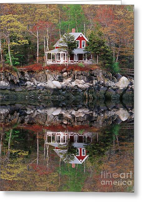 Maine Spring Greeting Cards - Harbor House Reflected Greeting Card by Jim Block