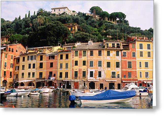 Docked Boat Greeting Cards - Harbor Houses Portofino Italy Greeting Card by Panoramic Images