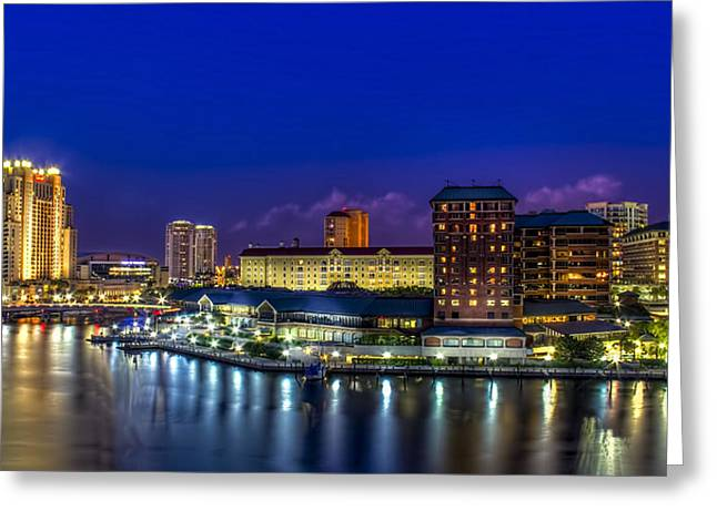 Tampa Greeting Cards - Harbor Island Nightlights Greeting Card by Marvin Spates