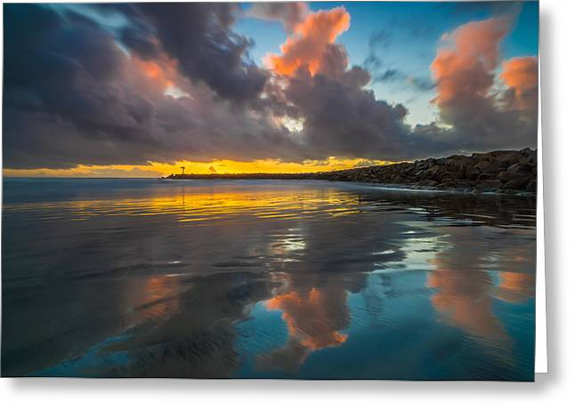Sd Greeting Cards - Harbor Jetty Reflections Greeting Card by Larry Marshall