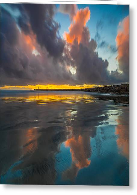 Ocean. Reflection Greeting Cards - Harbor Jetty Reflections Square Greeting Card by Larry Marshall