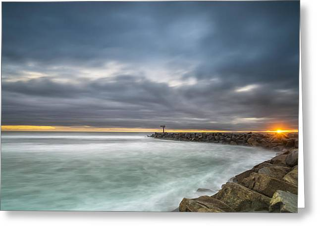 Singh Greeting Cards - Harbor Jetty Sunset - Pano Greeting Card by Larry Marshall
