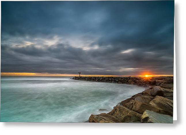 Red Photographs Greeting Cards - Harbor Jetty Sunset Greeting Card by Larry Marshall