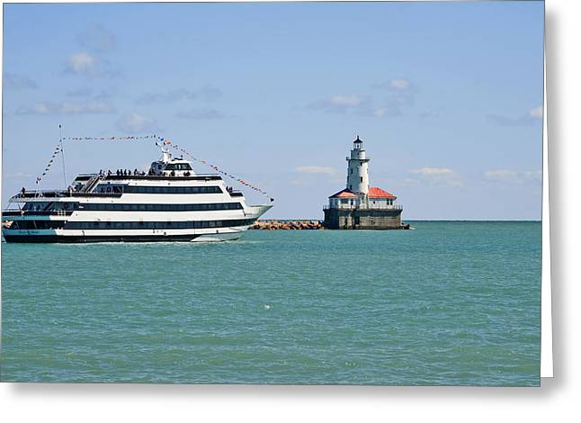Harbor Light Chicago Greeting Card by Christine Till
