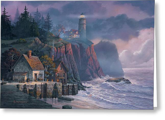 Paintings Greeting Cards - Harbor Light Hideaway Greeting Card by Michael Humphries