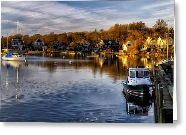 Sailboats In Water Greeting Cards - Harbor Light Greeting Card by Mark Papke