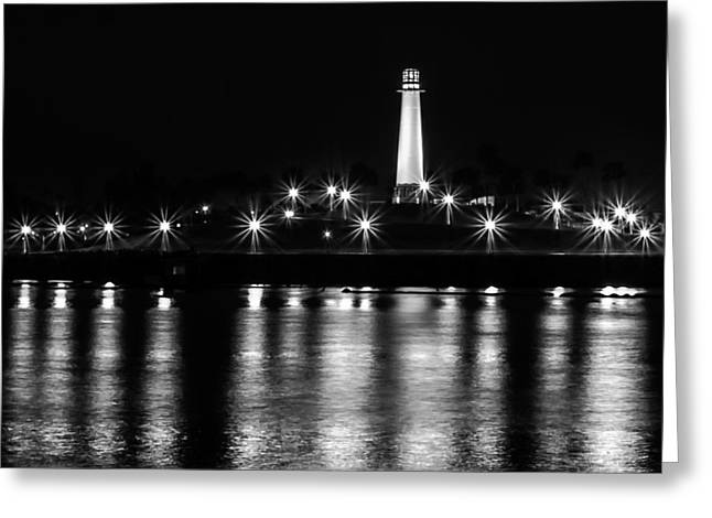 Beach At Night Greeting Cards - Harbor Lighthouse Greeting Card by James Barber
