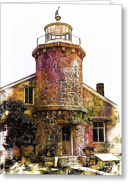 Night Lamp Greeting Cards - Harbor Lighthouse Greeting Card by Marcia Lee Jones
