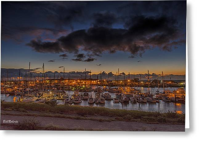 Moss Landing California Greeting Cards - Harbor Lights Greeting Card by Bill Roberts