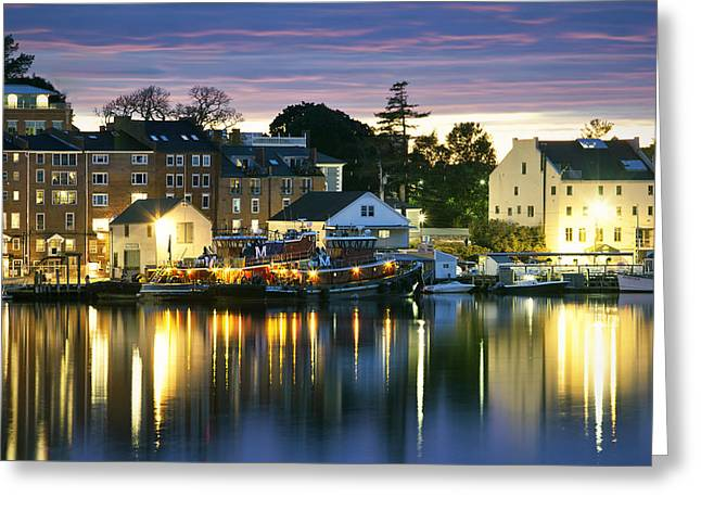 New England Village Scene Greeting Cards - Harbor Lights Greeting Card by Eric Gendron