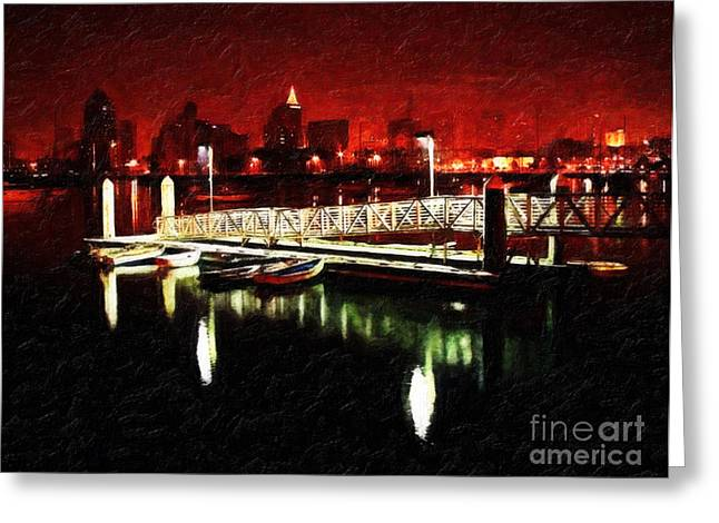 San Diego Harbor Greeting Cards - Harbor Lights Greeting Card by Lianne Schneider