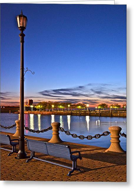 Harbor Lights Greeting Card by Frozen in Time Fine Art Photography