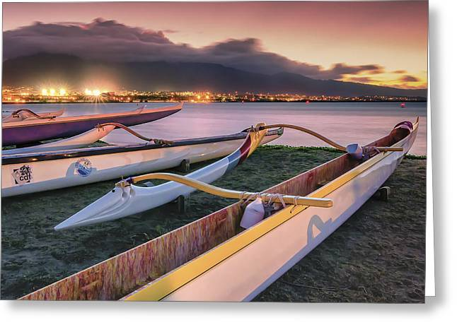 Harbor Lights Greeting Card by Hawaii  Fine Art Photography