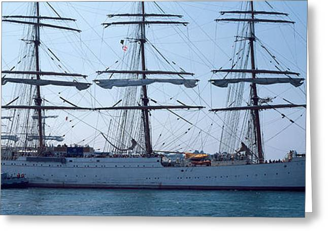 Tall Ships Greeting Cards - Harbor Maneuvers At A Harbor, Rosmeur Greeting Card by Panoramic Images