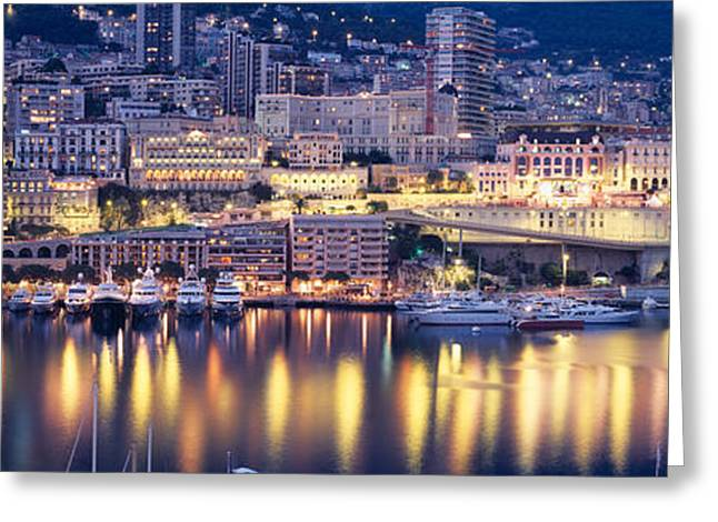 Brightly Lit Greeting Cards - Harbor Monte Carlo Monaco Greeting Card by Panoramic Images