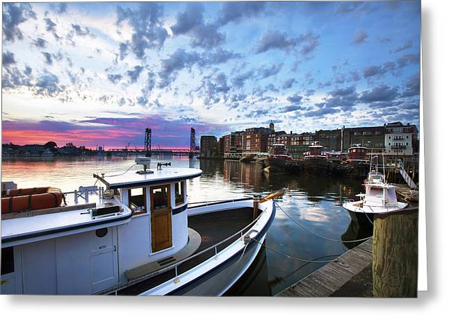Maine Waterfront Greeting Cards - Harbor Morning Greeting Card by Eric Gendron