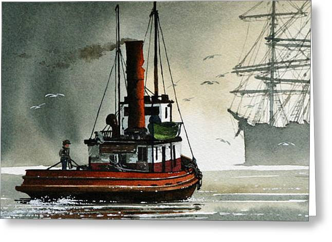 Artist James Williamson Images Greeting Cards - Harbor Night Greeting Card by James Williamson