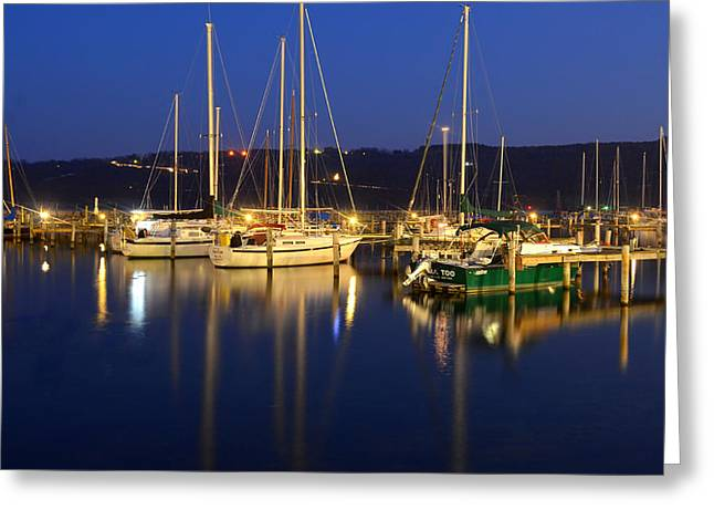 Sailboat Images Greeting Cards - Harbor Nights Greeting Card by Frozen in Time Fine Art Photography