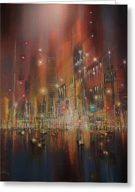 City Lights Greeting Cards - Harbor of Lights Greeting Card by Tom Shropshire