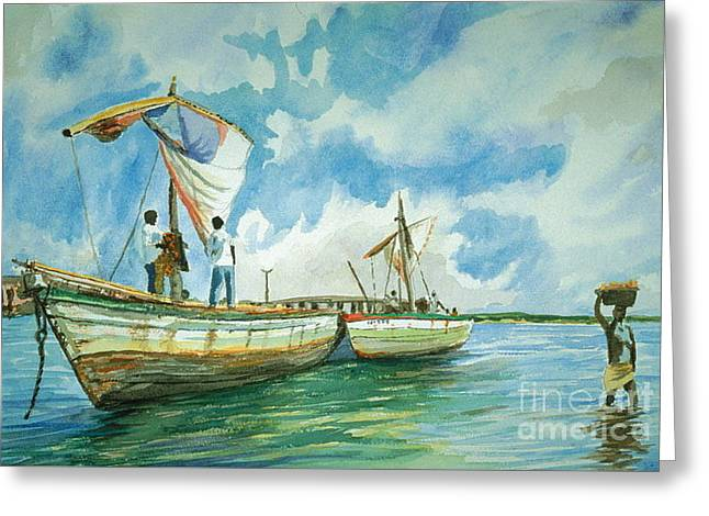 Ocean Sailing Pastels Greeting Cards - Harbor of Madagasgar Greeting Card by Ralph Williams
