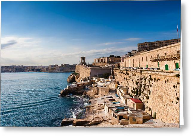 Maltese Greeting Cards - Harbor of Valetta with Bell Tower Memorial Malta Greeting Card by Frank Bach
