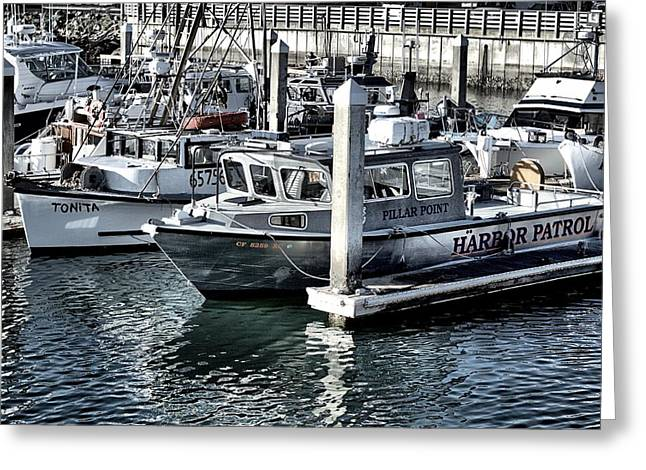 Santa Cruz Pier Greeting Cards - Harbor Patrol Greeting Card by Scott Hill