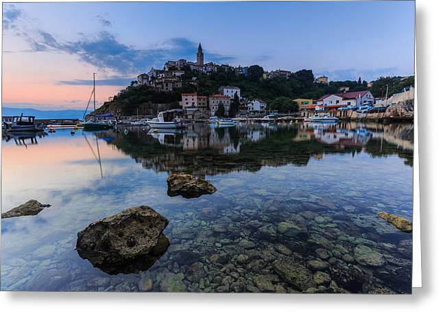 Harbor Reflection Greeting Card by Davorin Mance