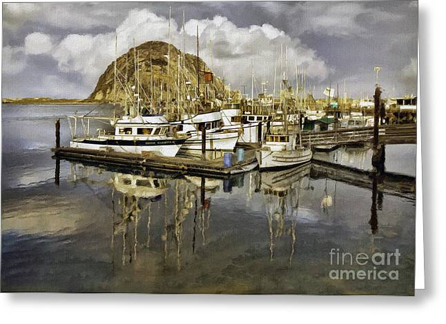 Morro Bay Harbor Greeting Cards - Harbor Reflection Impasto Greeting Card by Sharon Foster
