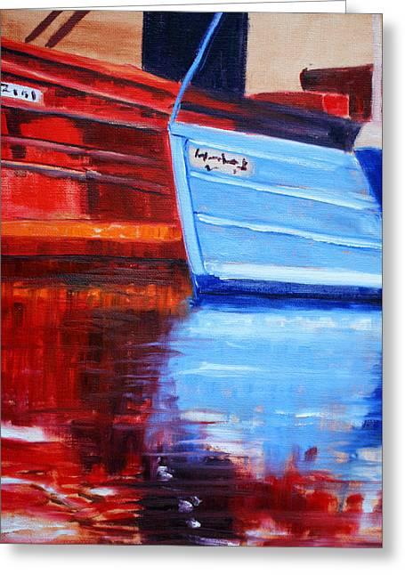 Schooner Paintings Greeting Cards - Harbor Reflection Greeting Card by Nancy Merkle