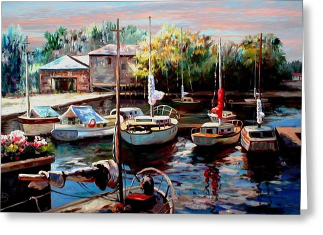 Best Sellers -  - Sailboats At The Dock Greeting Cards - Harbor Sailboats at Rest Greeting Card by Ronald Chambers