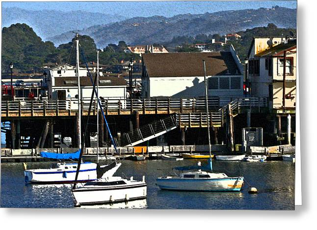 Santa Cruz Sailboat Greeting Cards - Harbor Sailboats Greeting Card by Joseph Coulombe