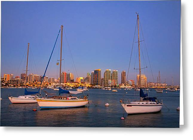 Sailboat Ocean Greeting Cards - Harbor Sailboats Greeting Card by Peter Tellone