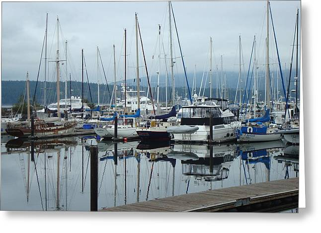 Sailboats In Harbor Greeting Cards - Harbor Scene Greeting Card by Susan Woodward