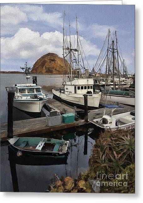 Morro Bay Harbor Greeting Cards - Harbor Sunrise Impasto Greeting Card by Sharon Foster