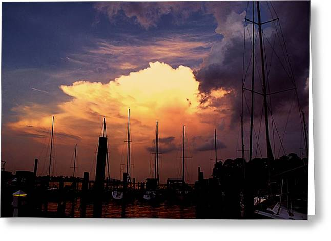 Boats In Harbor Greeting Cards - Harbor Sunset Greeting Card by Dan Richards