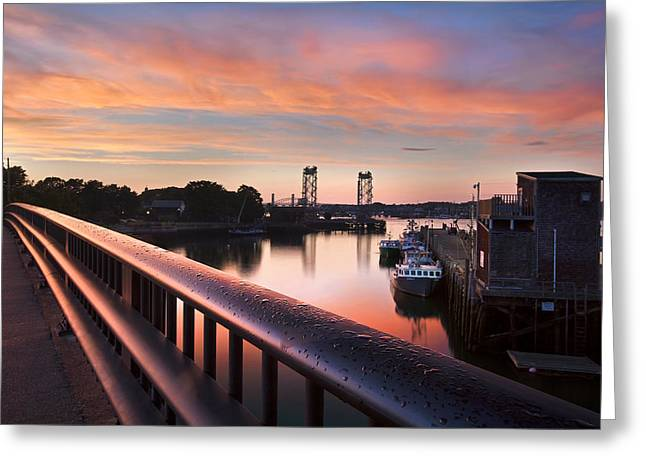 Historic City Pier Greeting Cards - Harbor Sunset Greeting Card by Eric Gendron