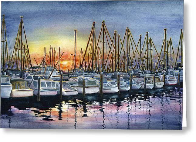 Barbara Paintings Greeting Cards - Harbor Sunset Greeting Card by Karen Wright