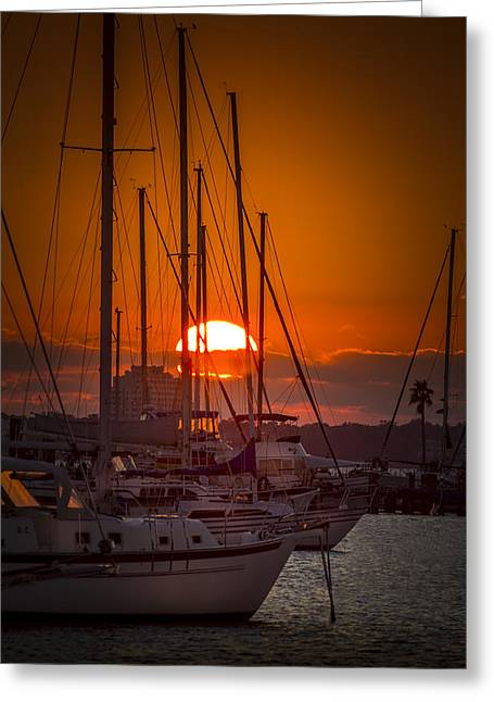 Sailboats In Water Greeting Cards - Harbor Sunset Greeting Card by Marvin Spates