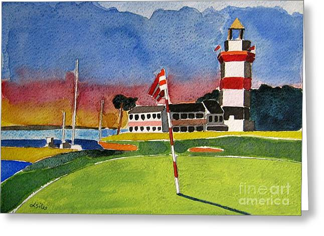 Hilton Greeting Cards - Harbor Town 18th SC Greeting Card by Lesley Giles