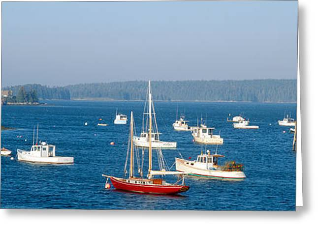 Ocean Shore Greeting Cards - Harbor View Of Lobster Village Greeting Card by Panoramic Images